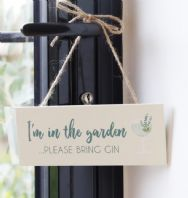 'PLEASE BRING GIN' WOODEN SIGN